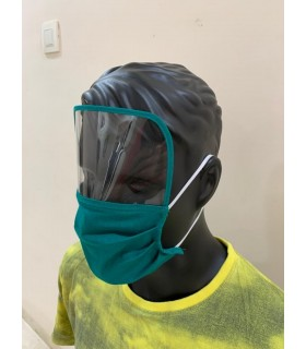 Cotton mask with protective scratch free shield